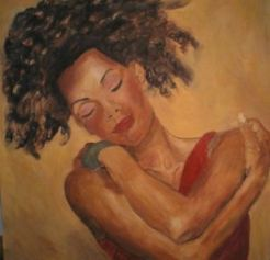painting-black-woman-hugging-loving-herself